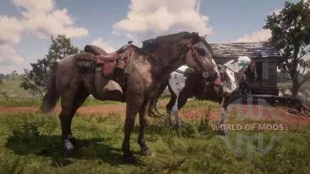 Dos caballos en la caza en RDR 2