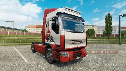La piel de Irina Shayk en una unidad tractora Renault Premium para Euro Truck Simulator 2