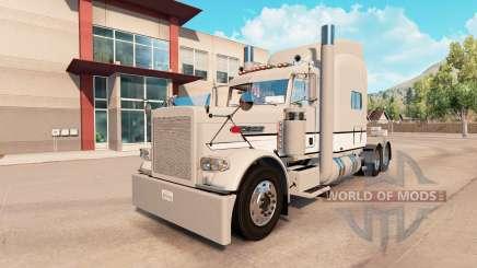 La piel Gris Y Blanco Peterbilt 389 tractor para American Truck Simulator