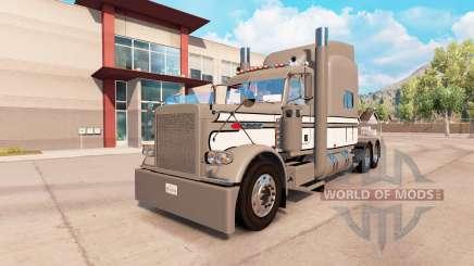 La piel Gris-Blanco-Negro en el camión Peterbilt 389 para American Truck Simulator