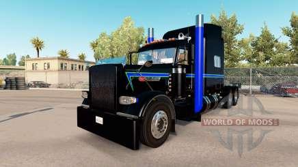 Piel Negra, Verde y Azul en el camión Peterbilt 389 para American Truck Simulator