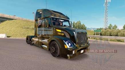 Piel de Oro y Negro en el camión Volvo VNL 670 para American Truck Simulator
