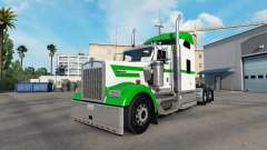 La piel Blanca Y Verde en el camión Kenworth W90