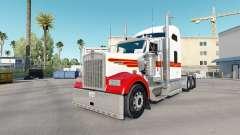 La piel Blanca Y Roja Kenworth W900 tractor