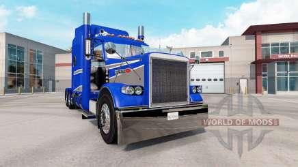 La piel Azul Y Gris Metálico en el camión Peterbilt 389 para American Truck Simulator
