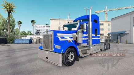 La piel Azul con Rayas Blancas en el camión Kenworth W900 para American Truck Simulator
