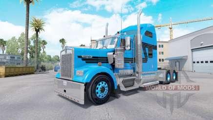 La piel Azul Negro para tractor camión Kenworth W900 para American Truck Simulator