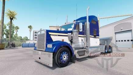 La piel Azul Amarillo Blanco para camión Kenworth W900 para American Truck Simulator