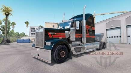 Piel Negra Grande en el camión Kenworth W900 para American Truck Simulator