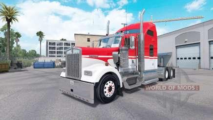 Piel Blanco sobre Rojo tractor Kenworth W900 para American Truck Simulator